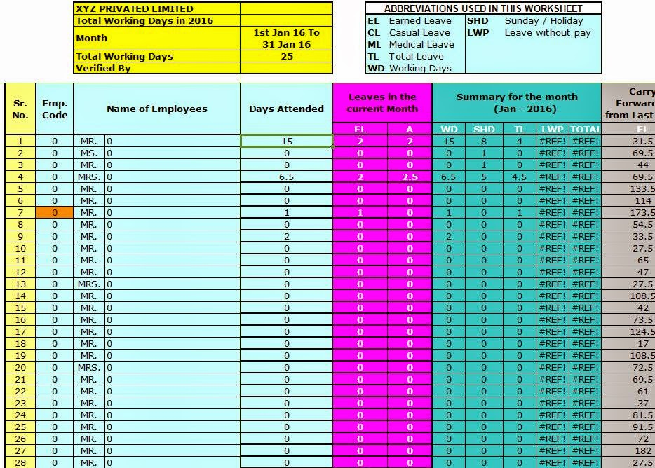 Attendance Sheet Format in Excel For Employees Free Download - excel attendance sheet download
