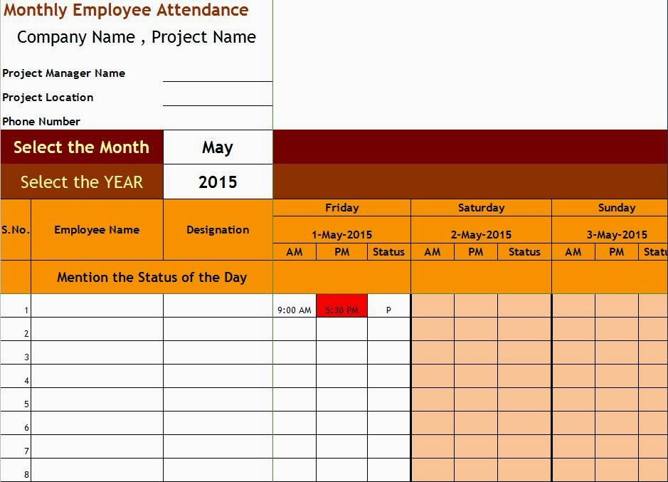 Employee Attendance Sheet with Time citehrblog - employee attendance record template