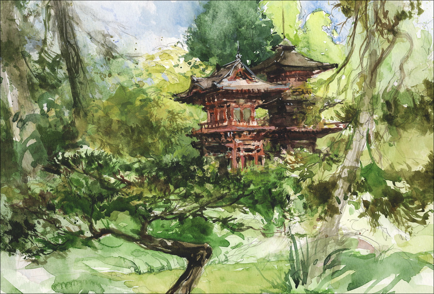 Anime Asian Jungle Girl Wallpaper Japanese Garden Golden Gate Park Citizen Sketcher