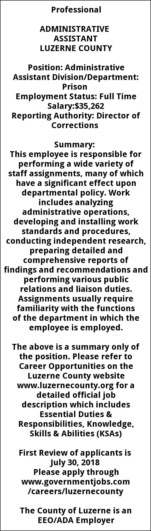 Administrative Assistant, Luzerne County