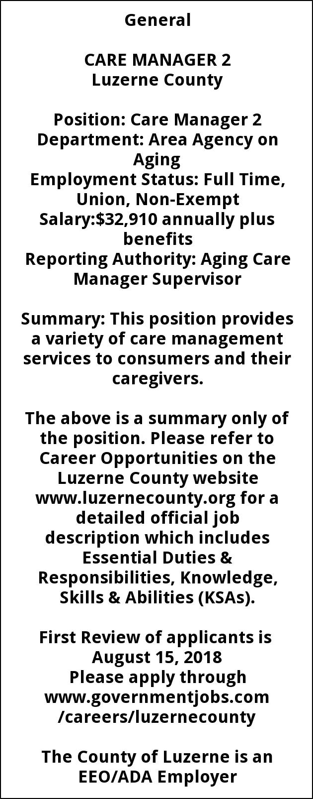 Case Manager 2, Luzerne County