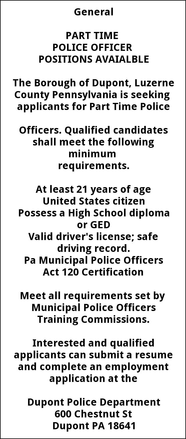 Police Officer, Dupont Borough, PA