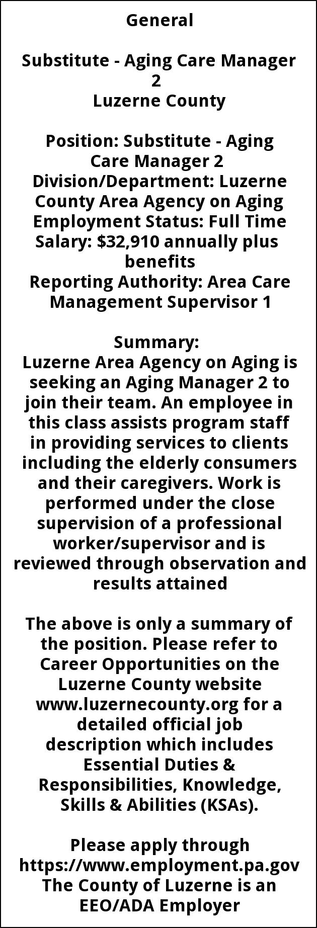 Aging Case Manager 2, Luzerne County