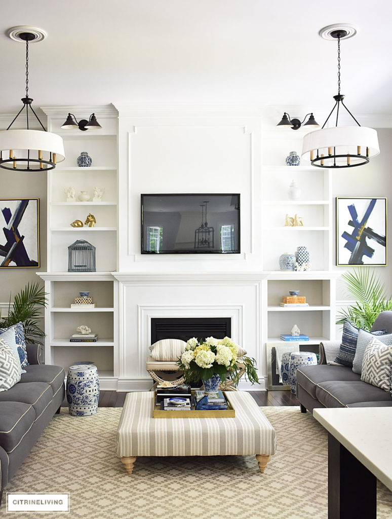 Grey White And Blue Living Room Summer Home Tour With Beautiful Blues And Fresh Greenery