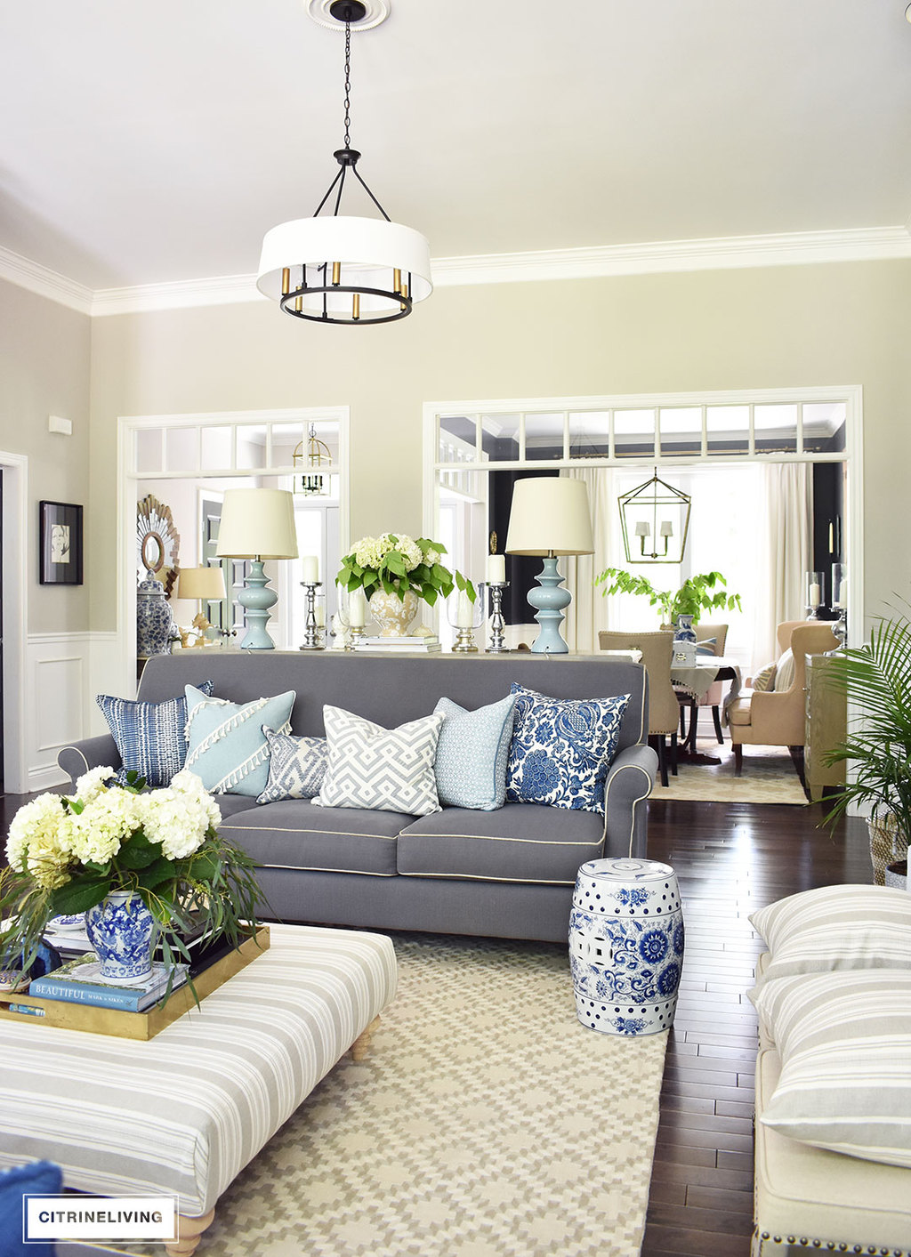 Blue Grey Living Room Summer Home Tour With Beautiful Blues And Fresh Greenery