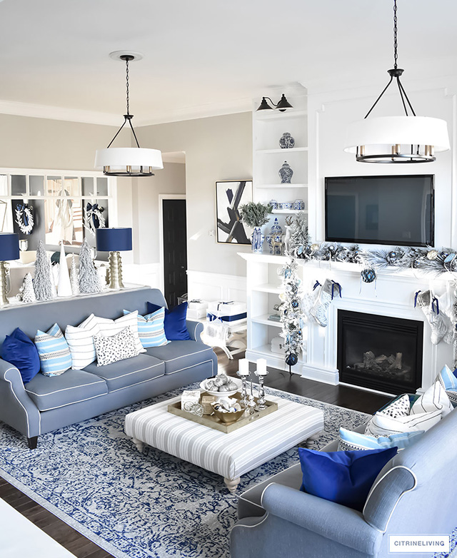 White And Blue Living Rooms Conceptstructuresllccom Blue