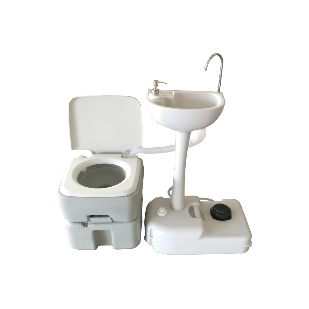 Camping Toilet Details About 20l Portable Toilet Flush Camping Hiking Toilet Potty And Wash Basin Sink Hdpe