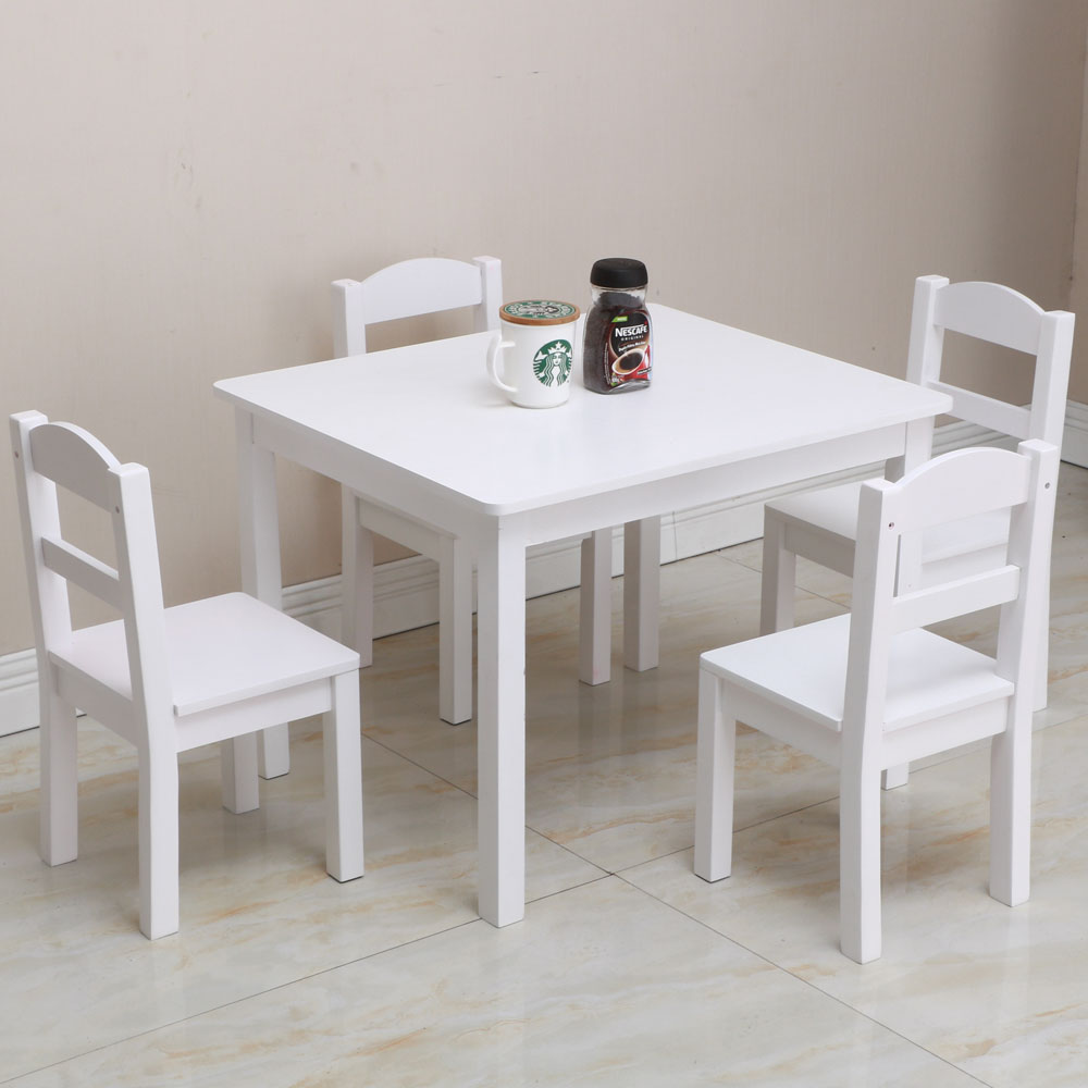 Childrens Table And Chair Set Details About Kids Table Chairs Wood Set Of 4 Learning And Playing Set White Colored Fun Games