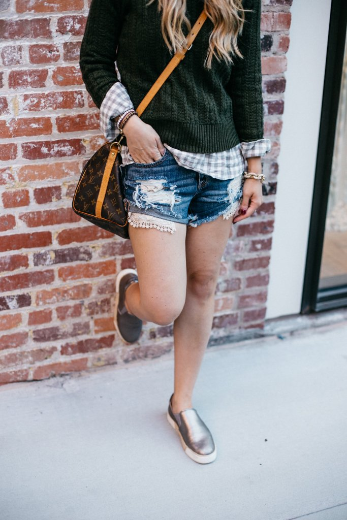 plaid-cable-sweater-with-denim-shorts