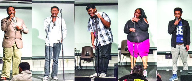 """Minneapolis, MN, 11/22/2016, Students perform at the MCTC Talent Show, from left to right: Robel """"Ol Brown Eyes"""" Tedros, Johhny AKA """"Blessed"""", Lamar Colquitt, Becky Moore, & Ben (Andrew Bickford, MCTC) Photo credit: Andrew Bickford"""