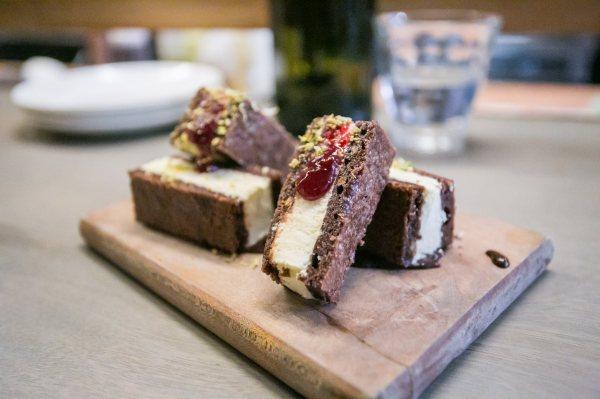 """Mint """"Ice Cream"""" Sandwich, chocolate-plum coulis, pistachios"""
