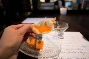 Marinated Golden Trout Roe, Ramp Vichysoisse