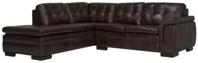 Promo Chaise Trevor Dark Brown Leather Small Left Bumper Sectional