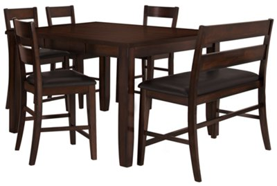 High Bench Table City Furniture Mango2 Dark Tone High Table 4 Barstools