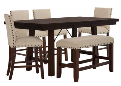 High Bench Table City Furniture Jax Beige High Table 4 Barstools And High Bench