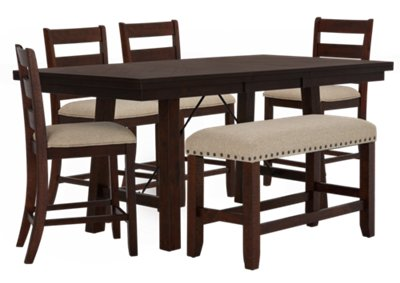 High Bench Table City Furniture Jax Dark Tone High Table 4 Barstools