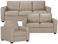City Furniture: Lane Taupe Leather & Vinyl Living Room