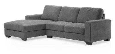 Furniture Chaise Estelle Dark Gray Fabric Left Chaise Sectional