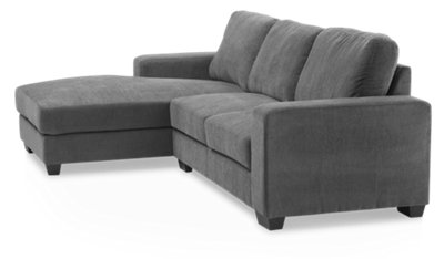 Chaise Promo Estelle Dark Gray Fabric Left Chaise Sectional Living Room