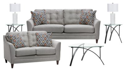 Jensen Sofa Bed Next Jensen Light Gray Fabric 7 Piece Living Room Package