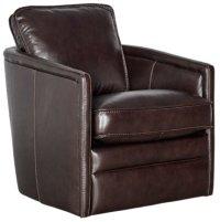 Alexander Dark Brown Leather Swivel Chair