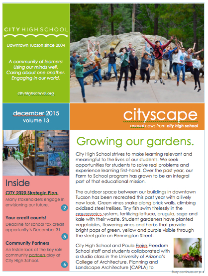 Annual Report  Cityscape Newsletter A Charter High School in