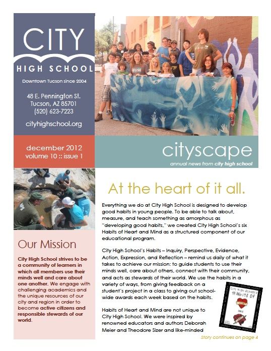 Check Out Our Annual CITYSCAPE Newsletter A Charter High School in
