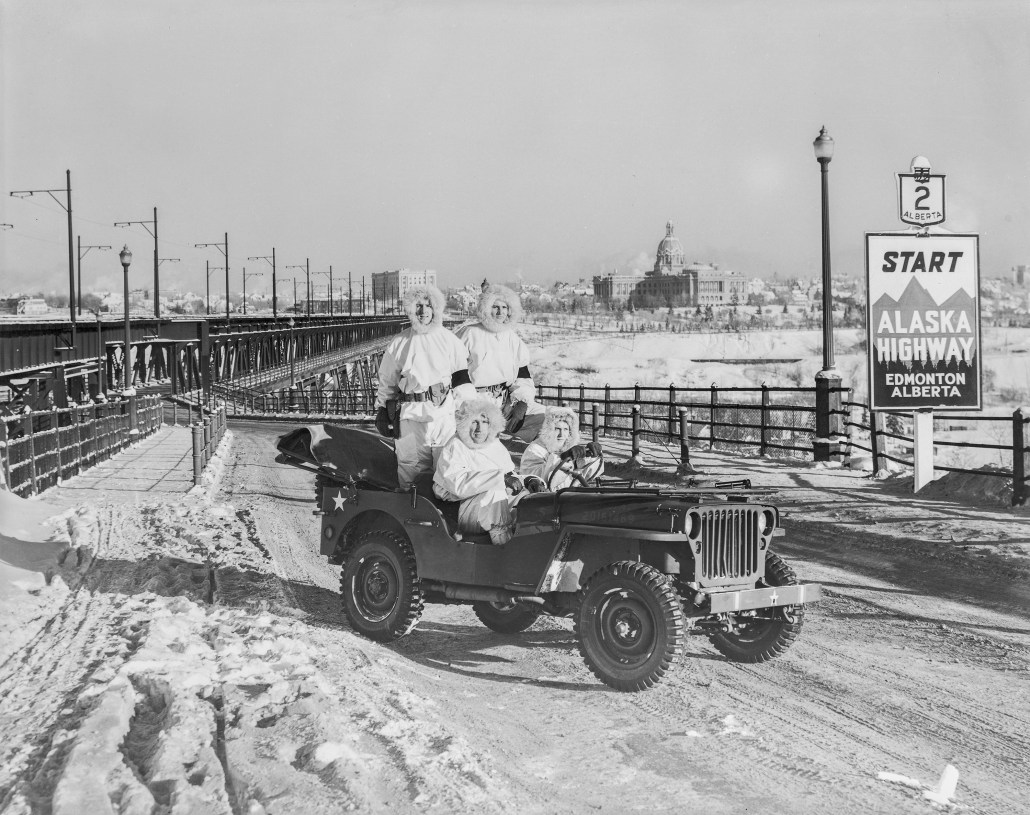 Jeep on High Level Bridge showing start of Alaska Highway. March 7, 1943. It is important to note that this photo is edited. The next two images in the BL456 series show just the jeep and just the sign. If you look closely in the attached image, you can see how the sign has been added to show both in a single image. Image courtesy of the Provincial Archives of Alberta BL456.1.