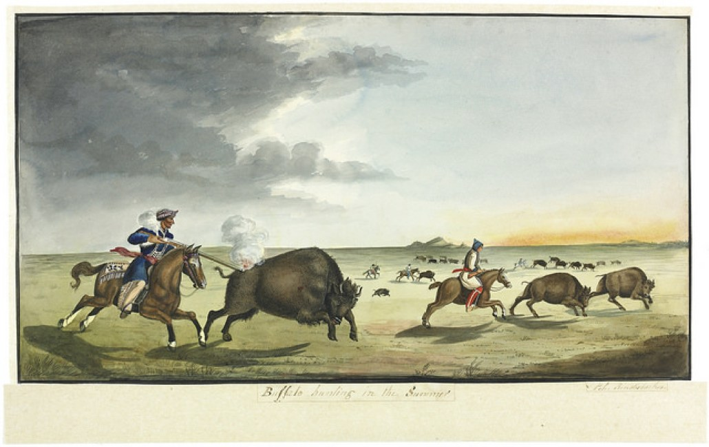 """Buffalo Hunting in the Summer/Chasse au bison durant l'été"". Original art by Peter Rindisbacher c 1822. Library and Archives Canada, e008299394, Reference number MIKAN 2835795, 2897723. Creative Commons License - https://flic.kr/p/GiceZc"