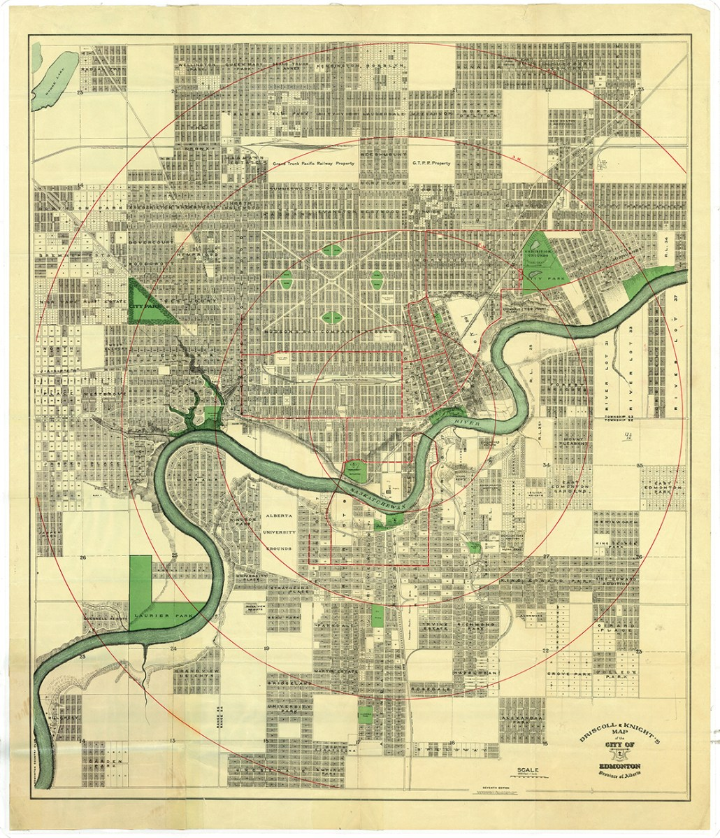 Driscoll and Knight Map of the City of Edmonton 1912. Image courtesy of the City of Edmonton Archives EAM-78.