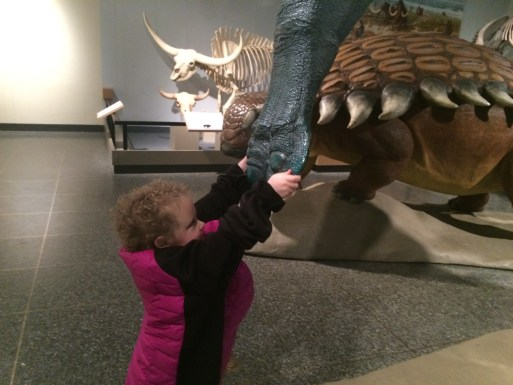 Gabe shaking hands at the Royal Alberta Museum Dinosaur exhibit. Photo courtesy of the author.