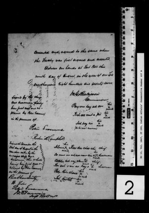 Adhesion to Treaty No. 6. Image courtesy of Library Archives Canada IT 299 – Adhesion 9 and 21 August 1877.