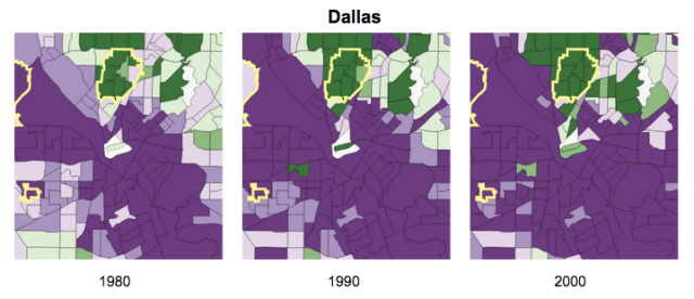 On these maps, from the Stanford Center on Poverty and Inequality, show relatively wealthy neighborhoods in green and poorer neighborhoods in purple. The growing number of high-income households choosing to live in the center of Dallas is clear as early as 1980 - 1990.