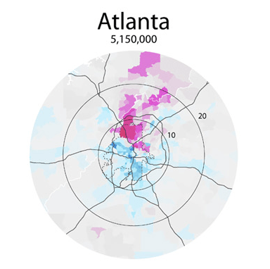 This map from Radical Cartography shows per capita income in Atlanta. The wealthy (pink) favored quarter is clearly visible to the north.