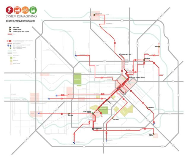 Frequent (red) bus lines before the reorganization...