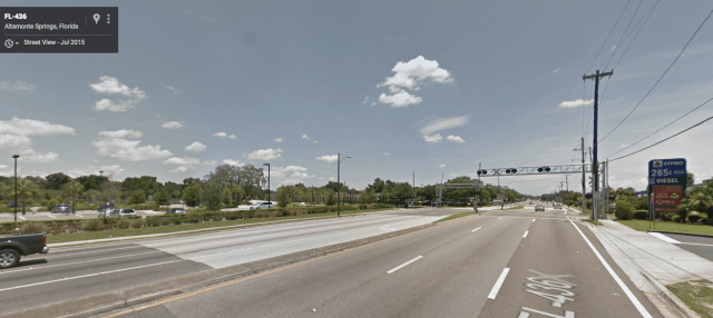 The view from the Altamonte Springs SunRail station. Credit: Google Maps
