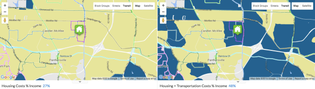 This neighborhood in Atlanta has affordable housing—but its transportation costs make it unaffordable. Credit: Center for Neighborhood Technology