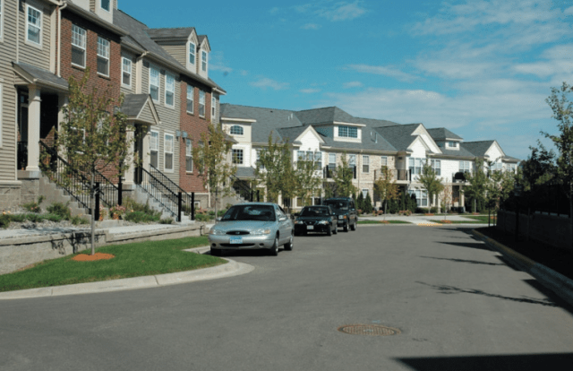 A depiction of suburban development at just over 15 homes per acre in suburban Eden Prairie, MN. Credit: Metropolitan Design Center