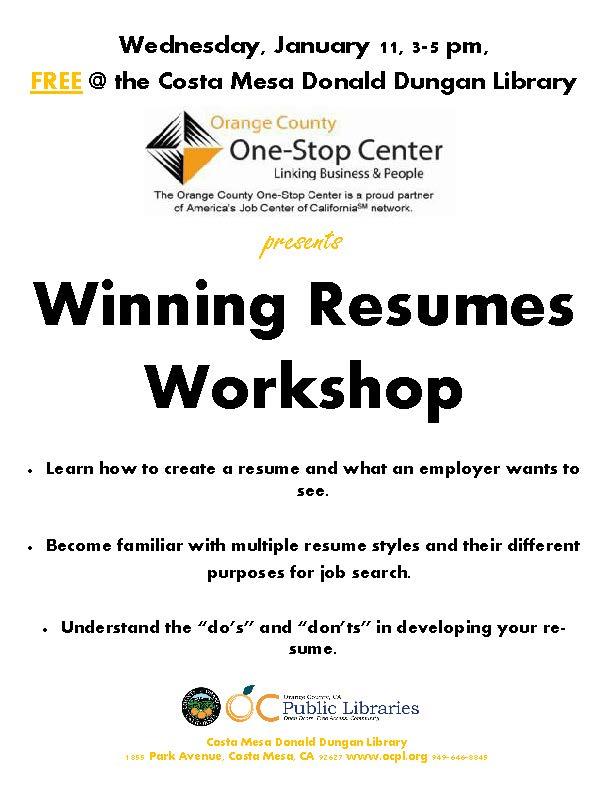 Winning Resumes Workshop \u2013 City of Costa Mesa News