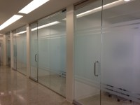 Decorative window film install in dental office Dallas, Tx