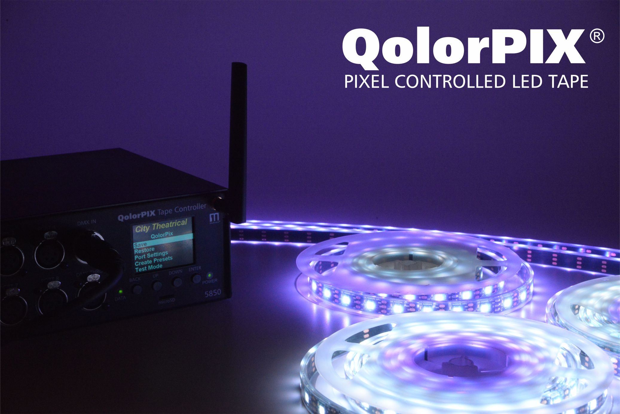 Led Strip Light Dmx Controller Qolorpix Pixel Controlled Led Tape