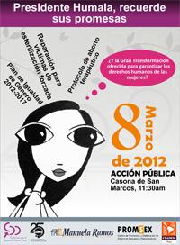 06. Perú: Organizaciones feministas realizan acción pública exigiendo cumplimiento de compromisos al presidente Ollanta Humala