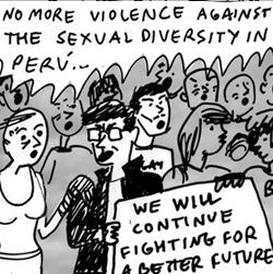 """18. EE.UU.: Recrean los incidentes del 12 de febrero de 2011 en Lima durante la acción """"Besos contra la Homofobia"""" mediante cómics"""