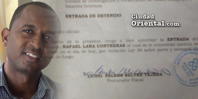 Imputarían a Rafael Lara por violación Ley 36 sobre porte y tenencia de armas