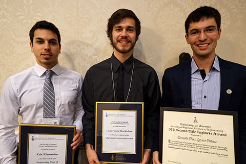 Undergraduate students Eric Elmoznino, Liam MacKichan and Ernesto Díaz Lozano Patiño were honoured by alumni for their leadership and commitment to the U of T Engineering community and beyond. (Photo: George Hatiras)