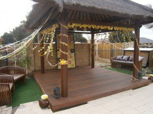 Balinese style hut, decorated for a wedding in perth