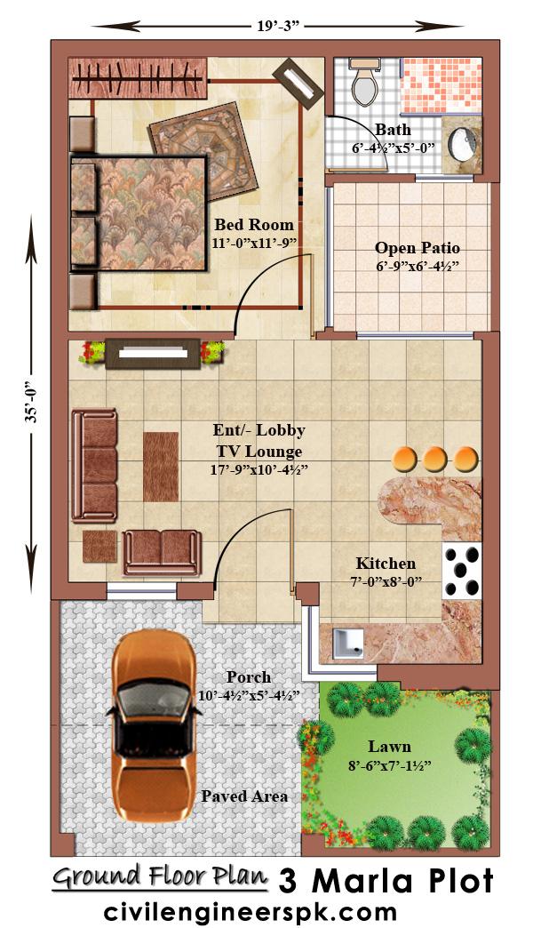 3 Marla House Plans Civil Engineers Pk