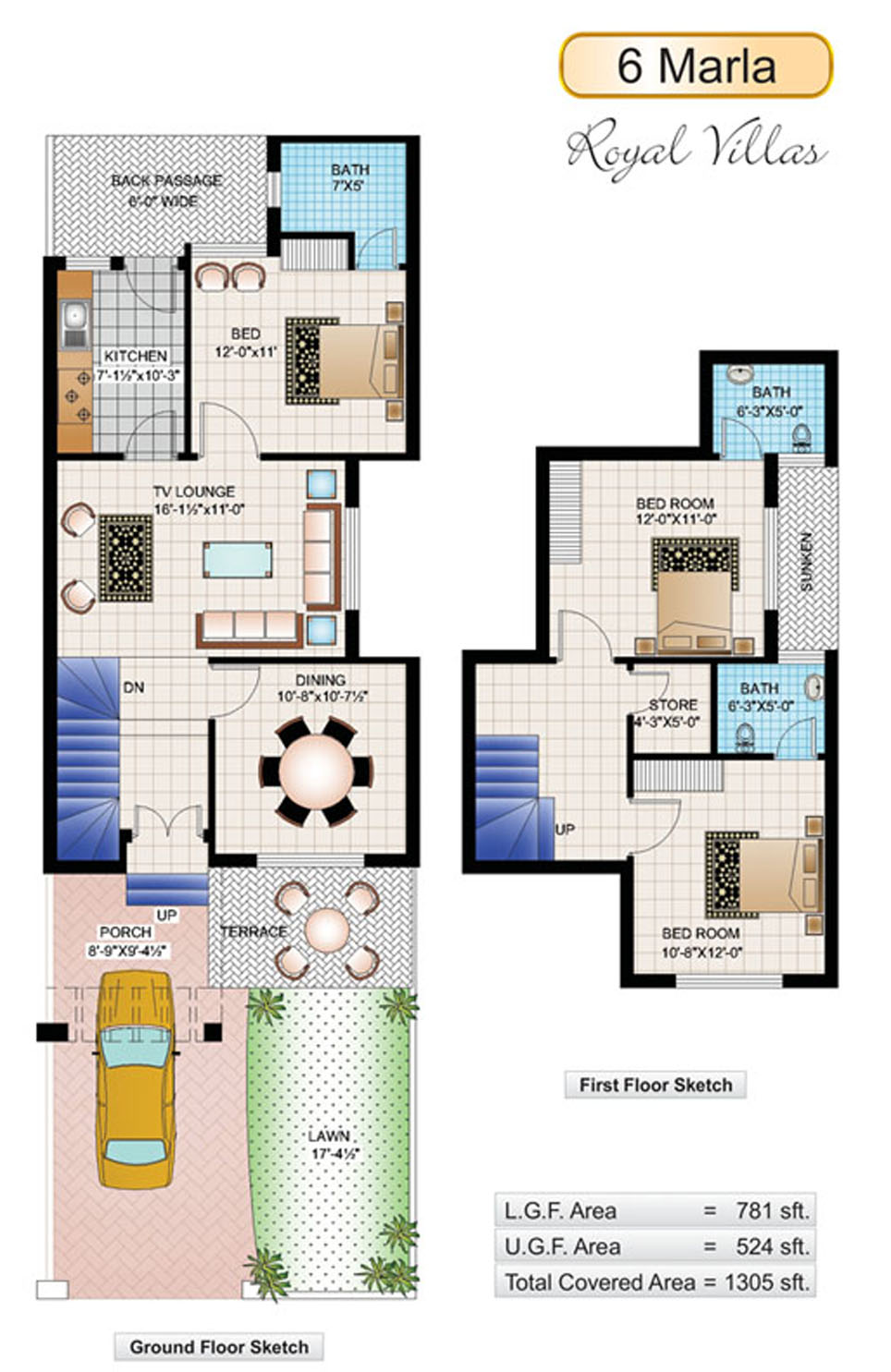 6 marla house plans civil engineers pk for House floor plans with pictures