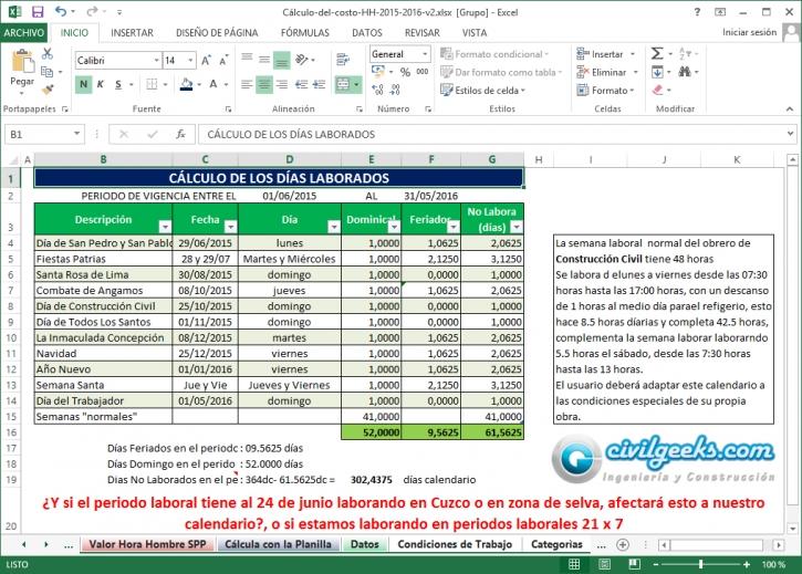 Hoja Excel para el Cálculo del costo de horas hombre Ing Jorge