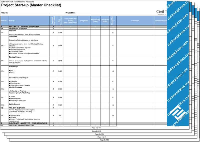 Project Checklist Template 8 Free Word Pdf Documents Project Management Document Templates Civil Engineering